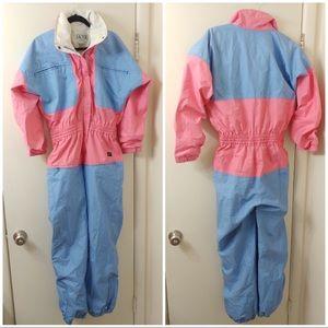 SKYR vintage snowsuit gore-tex ski pink blue suit